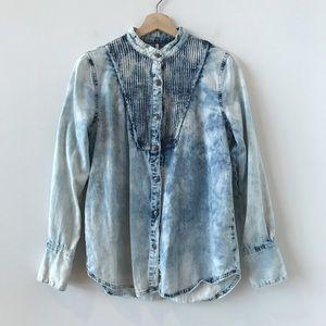 Free People denim acid wash button down shirt
